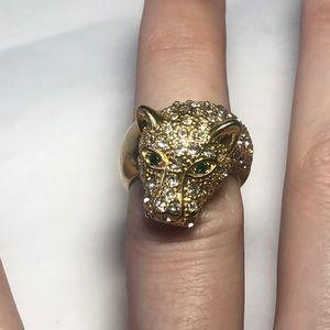 BCBG Jaguar Rhinestone Ring Size 5